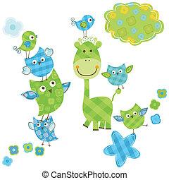 söt, giraff, fåglar, &