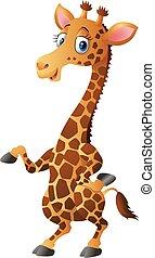 söt, giraff, illustration