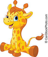 söt, giraff kalv