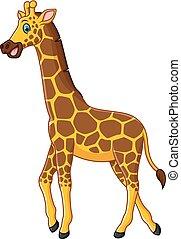 söt, giraff, tecknad film