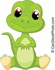söt, grön, dinosaurie, tecknad film