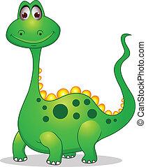 söt, grön, tecknad film, dinosaurie