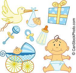 söt, grafisk, elements., född, baby, färsk