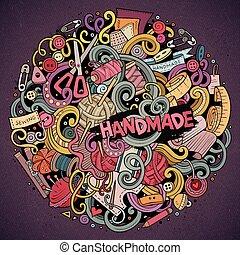 söt, handgjord, illustration, hand, doodles, oavgjord, ...
