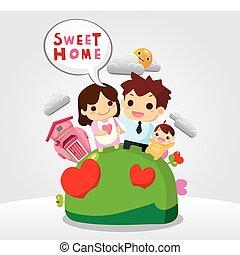 söt, hem, familj, kort