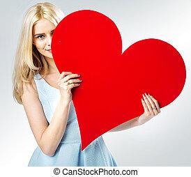 söt, hjärta, bak, blond, flicka, nederlag