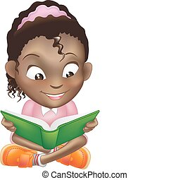 söt, illustration, bok, svart flicka, läsning