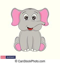 söt, illustration, hand, vektor, elefant, oavgjord