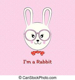 söt, illustration, hand, vektor, oavgjord, rabbit.