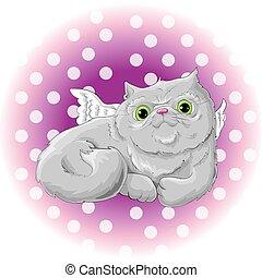 söt, illustration, katt