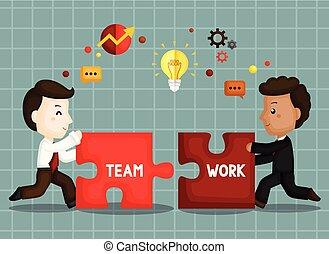 söt, ivrig, framgång, arbete, vara, arbete, vektor, lag, affärsman
