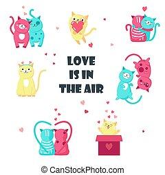 söt, kärlek, isolerat, illustration, vektor, katter