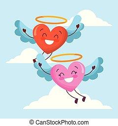 söt, kärlek, sky, tecknad film, flyng, hjärtan, påskyndar