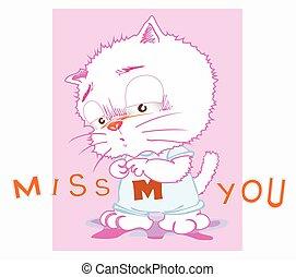 söt, katt, tecknad film, miss, dig, handlande