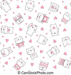 söt, katter, hjärtan, mönster