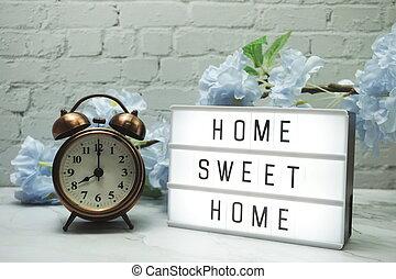 söt, klocka, ord, hem, lätt, blomningen, alarm, boxas, ...
