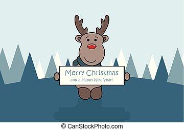 söt, kort, hälsning, vinter landskap, hjort, jul