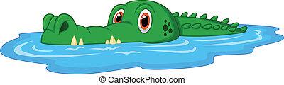söt, krokodil, tecknad film, simning
