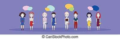 söt, kvinna, grupp, pratstund, färgrik, bubbla, över, flickor, ung, bakgrund, horisontal, baner