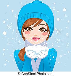 söt, kvinna, snöflingor, blåsning