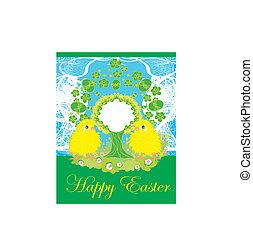 söt, kycklingarna, och, påsk, träd, ram