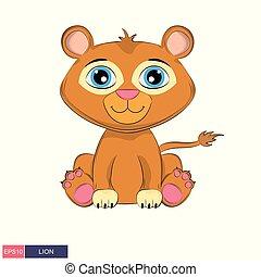 söt, lion., illustration, hand, vektor, oavgjord