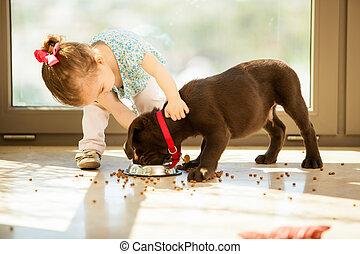 söt, liten flicka, matning, henne, valp