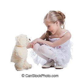 söt, liten flicka, med, len leksak
