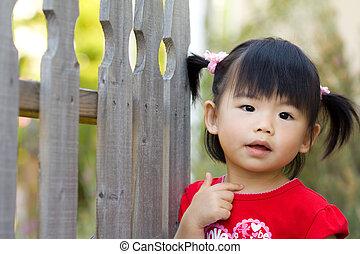 söt, litet, asiat, kinesisk, flicka