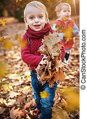 söt, litet, bladen, höstlig, se, kopplar samman, somna