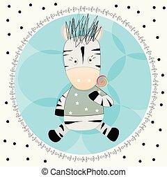 söt, litet, illustration, hand, vektor, zebra, oavgjord