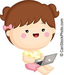 söt, litet, sätta, henne, arbete, laptop, vektor, flicka