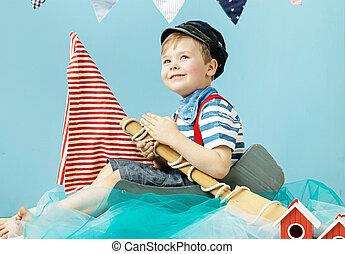 söt, litet, sjöman, stående