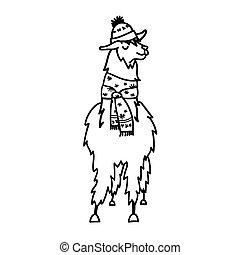 söt, llama., scarf., lama, vinter, tecken, isolerat, djur, oavgjord, print., hatt, jul, peru, alpacka, illustration, hand, guanaco, baby, amerika, tecknad film, vicuna., skissera, vektor, teckning, syd
