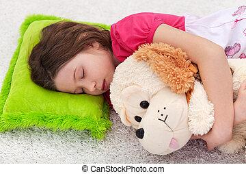 söt, lugn, -, ung flicka, sova