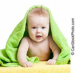 söt, lycklig, baby, in, handdukar