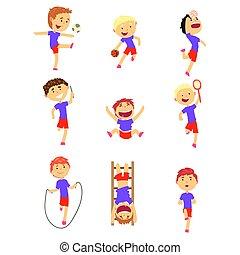 söt, lycklig, pojkar, gör, sports, set., aktivitet, lurar, leka, färgrik, tecknad film, illustrationer