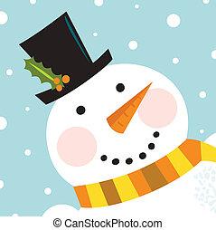 söt, lycklig, snögubbe, ansikte, med, snöa, bakgrund