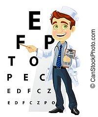 söt, män, -, läkare, oftalmolog