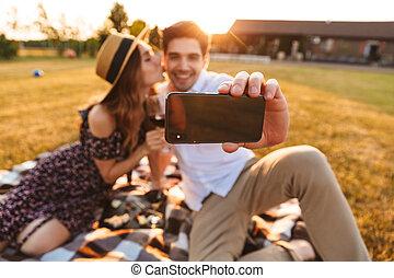 söt, mobil, par, ung, tel., ta, selfie, älskande