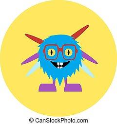söt, monster, illustration, vektor, alien., tecknad film