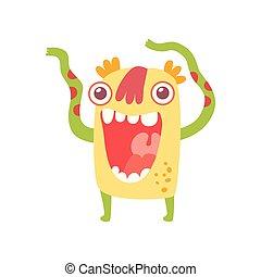 söt, monster, tecken, illustration, tecknad film, främling, vektor, le, vänskapsmatch