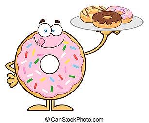 söt, munk, tjänande, donuts
