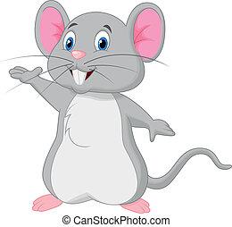 söt, mus, tecknad film, vinka