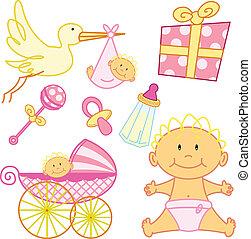 söt, ny född, baby flicka, grafisk, elements.