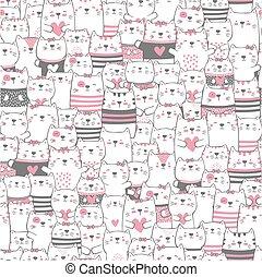 söt, nymodig, katter, seamless