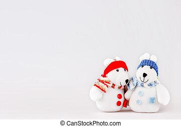 söt, oavbrutet tjata, utrymme, söt, par, text., clothes., plysch, varm, bakgrund, toys, par, det scarfs, caps., tom, jul
