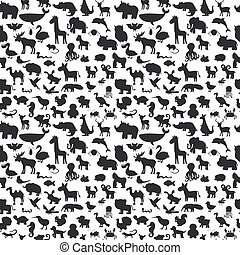 söt, olik, djuren, pattern., seamless, silhouettes, bakgrund