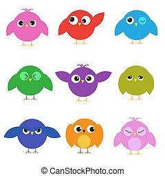 söt, olik, sätta, fåglar, sinnesrörelser