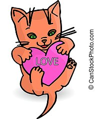 söt, orange kattunge, hjärta, in, nypor, (love), tecknad film, vita, bakgrund.